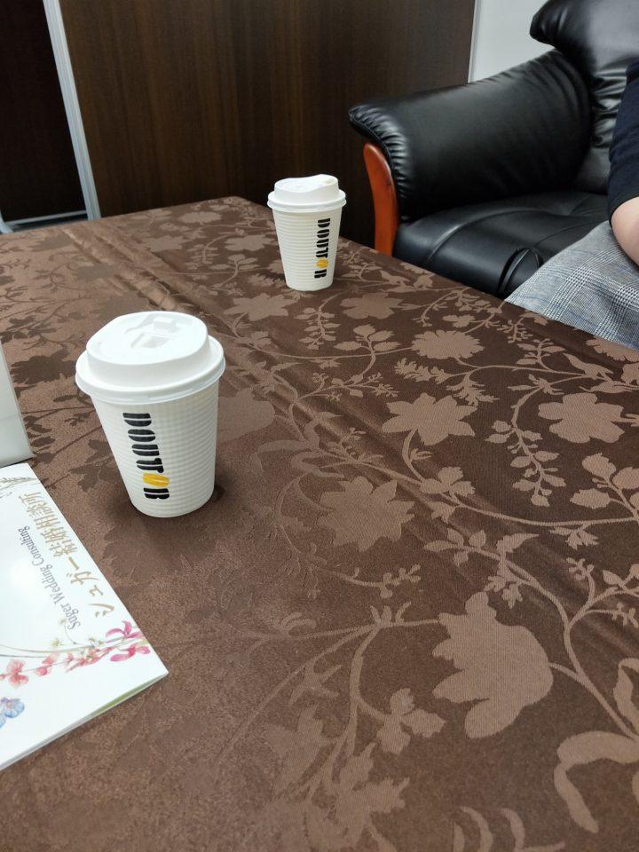 とっても控えめな女性会員様がドトールコーヒー持参でご来店